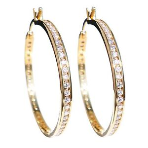 Ah! Jewellery® 40mm Genuine Gold Filled Hoops Crystals From Swarovski®Stamped GL