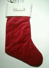 Pottery Barn Red Velvet Christmas Stocking with White Cuff with name Maxwell New