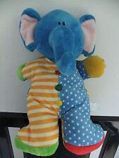 "10"" RUSS BLUE YELLOW RATTLE SPOT STRIPE ELEPHANT SOFT CUDDLY TOY TEDDY NEXT ZOO"