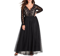 City Chic Womens Plus XS/14 Black Long Sleeve Lace Bodice Lined Maxi Dress NEW