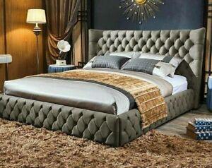 Luxury Winged Beds Chesterfield Bed Crush Velvet Upholstered Sleigh Bed Frames
