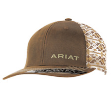 Ariat Mens Hat Cap Oilskin Brown Aztec Mesh Back Snapback Logo 1510002