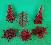 Lot of 6 Red Glitter Unique Christmas Ornaments - Some Kurt Adler - VGC