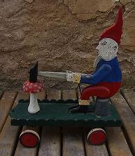 Antique German Wooden Pull Toy Gnome hammering Mushroom #<