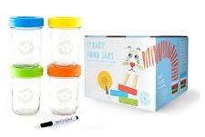 4*240ml Baby Glass Food Storage Container/Jar-Mwave/Freezer Safe + Portion Cntrl