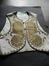 Antique pale cream wool Turkish Ottoman waistcoat yelek gold metallic embroidery
