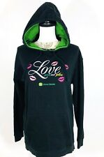 John Deere Womens XL Pullover Hoodie Sweathshirt Black Green Love Kisses