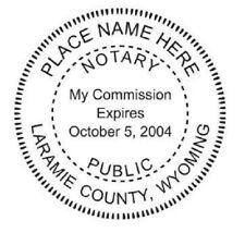 New listing State of Wyoming| Custom Round Self-Inking Notary Public Stamp Ideal 400R