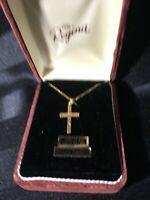 Regina Genuine Diamond 1/20 - 12K.T. Gold Filled Cross Necklace MIB