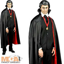 Count Dracula Mens Fancy Dress Halloween Spooky Gothic Vampire Adult Costume New