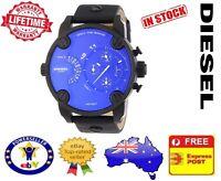 DIESEL DZ7257 Little DADDY Blue Quartz Black leather Chrono Mens Watch 51mm