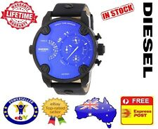 DIESEL DZ7257 Little DADDY Blue Quartz Black leather Chrono Mens Watch 51mm