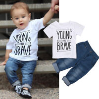 Newborn Toddler Kid Baby Boy Clothes T Shirts Tee Tops +Denim Pants Outfit Set A