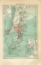 1895 INDIA BOMBAY MUMBAI CITY and SUBURBS Antique Map