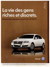 2006 VOLKSWAGEN Passat Vintage Original Print AD White car photo French Canada