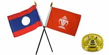 "Laos Old & New Flags 4""x6"" Desk Set Table Gold Base"