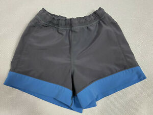 Ivivva Shorts 4 Gray Blue Color Block Lined Elastic Waist Stretch Run