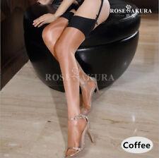 Women Two Tone Ultra-thin Sheer Oil Shiny Stockings Thigh High Nylons 30 Denier