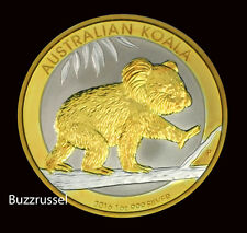 2016 P  Australian $1 1 oz. Silver Koala Bear 24K Gold Gilded Perth Mint Ounce F