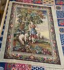 """ANTIQUE 19C FRENCH HAND WOVEN CROSS STITCH TAPESTRY WALL HANGING 45"""" By 56"""""""