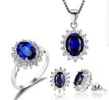 Princess Bridal Set Sterling Silver Blue Sapphire Ring Earring Pendant Necklace