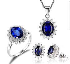Conjunto De Novia Princesa Azul Zafiro Anillo Pendiente De Plata Esterlina Colgante Collar