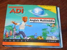 4 CD-ROM PC ADI apprendre ANGLAIS MULTIMEDIA coktel 3eme METHODE ADIDOU scolaire
