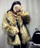Women Thicken Warm Fox Fur Coat Winter Jacket Long Faux Fur Outwear Lapel Ske15