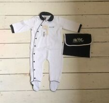 Bnwt Armani Baby Baby Grow White With Navy Trim Aged 9 Months