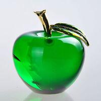 Green 3D Crystal Paperweight Glaze Apple Figurine Glass Wedding Decoration Gifts