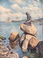 Im Stadthafen von Kopenhagen mit Schiffen Kleine Meerjungfrau monogrammiert