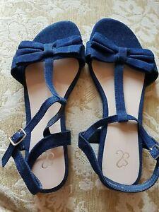 New Evans Extra Wide Denim Sandals Shoes 7EEE