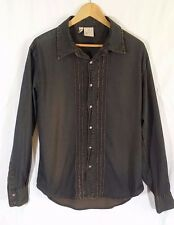 JAG Vintage 72 Retro Style Button Down Ruffle Long Sleeve Shirt Size L