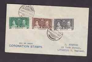 Nyasaland 1937 FDC 1st day cover to England KGVI Coronation Blantyre cancel