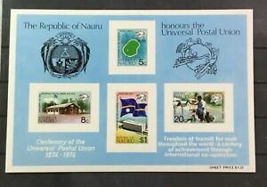NAURU # 117a. SOUVENIR SHEET - 75th ANNIVERSARY UNIVERSAL POSTAL UNION. MNH