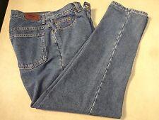 "L.L. Bean Womens Flannel Lined Denim Jeans Sz 14 14R  30"" Waist 30"" Inseam Red"