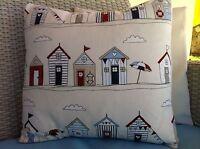 "New Fryetts Blue Beach huts Seaside Fabric Scatter Cushion Covers 16"""