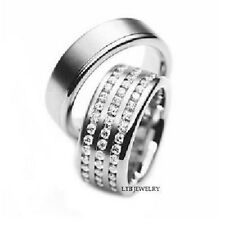 950 PLATINUM MATCHING HIS & HERS WEDDING BANDS DIAMONDS RINGS MENS WOMENS SET