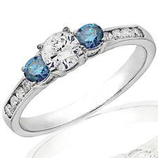 1.00Ct Three Stone Blue & White Diamond Engagement Ring in 14K White Gold