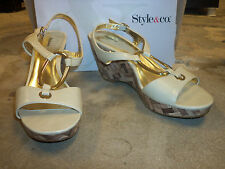 Style & Co New Womens Diorra French Creme Wedge Sandals 9.5 M Shoes
