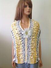 Hand Knit Shawl Wrap Scarf Cowl Spring  Summer Designer Fashion Floral