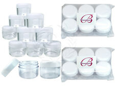 12 Pieces 30G/30ML Round Clear Sample Jars with White Round Top Screw Cap Lids