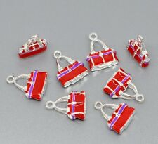 5 pcs Pendant Dangle Red Handbag Purse  Silver plated DIY Jewelry findings c107