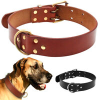 Heavy Duty Leather Small Large Dog Collars D-ring Labrador Black Brown S M L XL