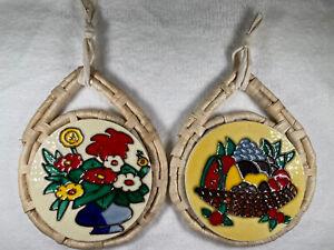 """Ceramic Hanging Tile Art Trivet Husk Rattan 6"""" Tile"""