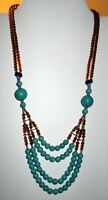 "Necklace Beaded Gemstone Afghan Alpaca Silver Kuchi Tribal 22"""