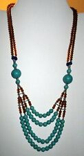 Necklace Beaded Gemstone Afghan Alpaca Silver Kuchi Tribal 22""