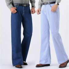 Men Bell Bottom Jeans Retro Flared Denim Pants Wide Legs Trousers Regular Casual