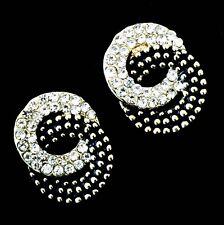 USA EARRING Rhinestone Crystal GEMSTONE Fashio Cute stud Silver Flower Black