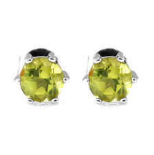 1.1ct 5mm Stunning Round Genuine Peridot Sterling Silver Stud Fashion Earrings